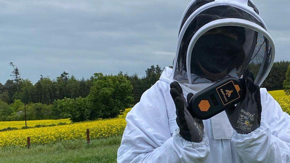 Un apicultor sosteniendo un monitor ApisProtect