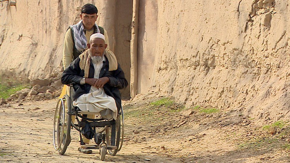 Ghayasuddin from the village of Taluka, lost both his legs when he stepped on a landmine laid by the Taliban