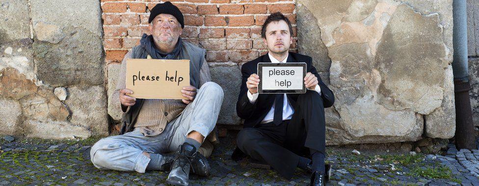 two homeless beggars
