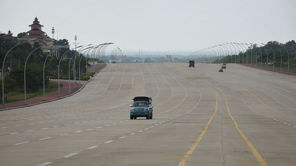 This general view taken on October 27, 2015 shows the nearly empty 20-lane road stretching from across the National Parliament building in Nay Pyi Taw, the capital city of Myanmar. Yangon was the former capital until the military regime built Nay Pyi Taw and was made the capital in 2005