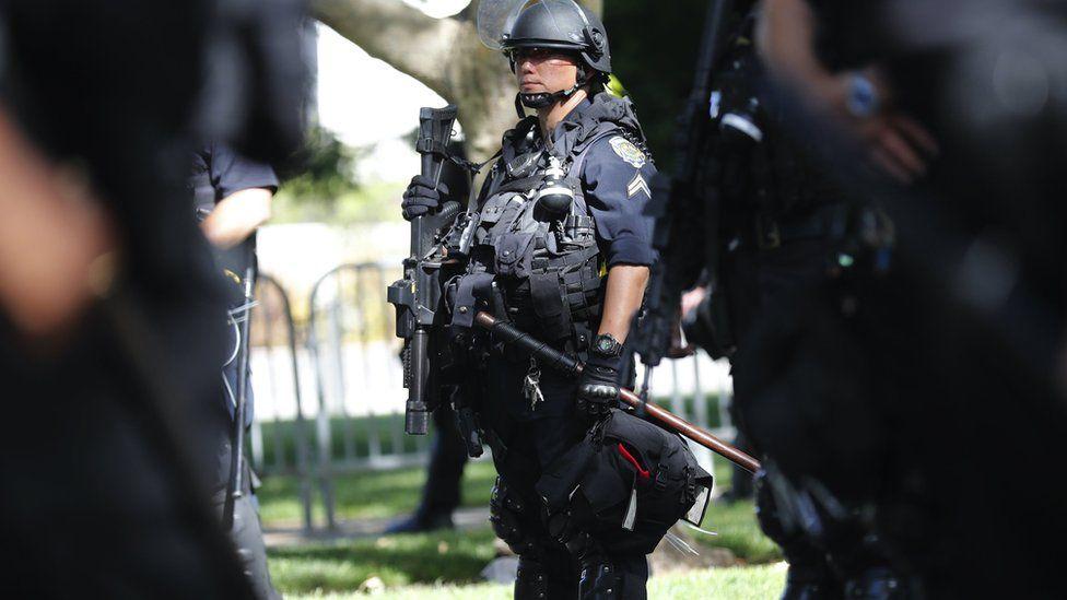 A heavily armed police officer in Walnut Creek, California