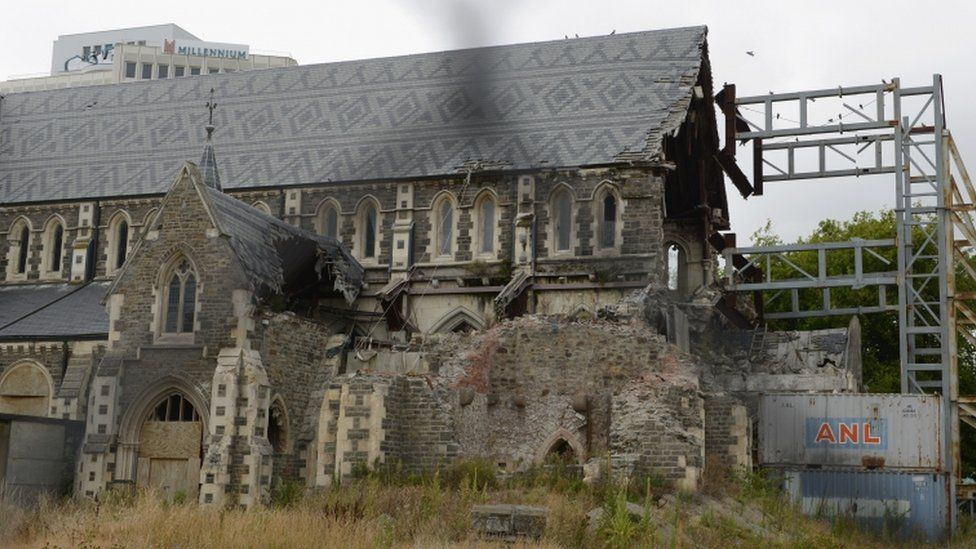 Christchurch Cathedral is seen still damaged on 21 February 2016