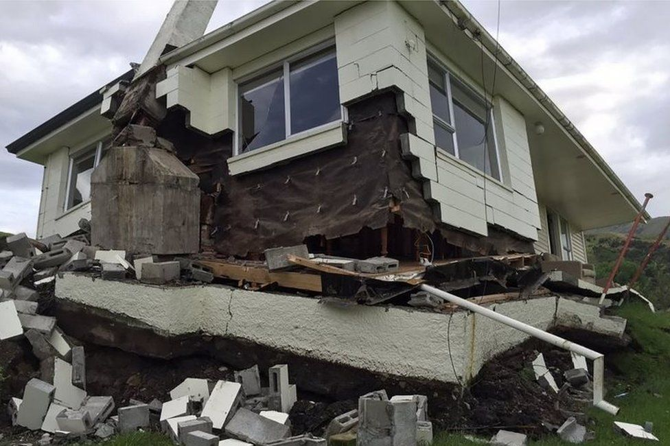 Damaged house near Kaikoura (14 Nov 2016)