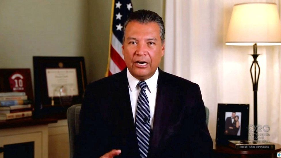 Alex Padilla speaking by video feed during the 4th and final night of the 2020 Democratic National Convention as California Secretary of State on 20 August 2020