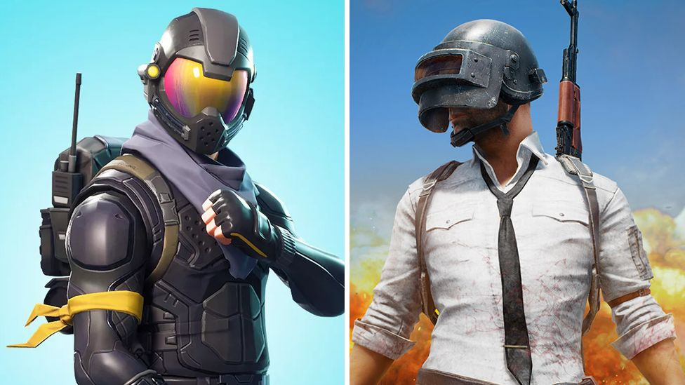 Fortnite character and PUBG characters