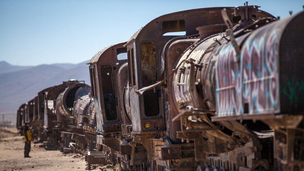 Disused trains were just left in Uyuni