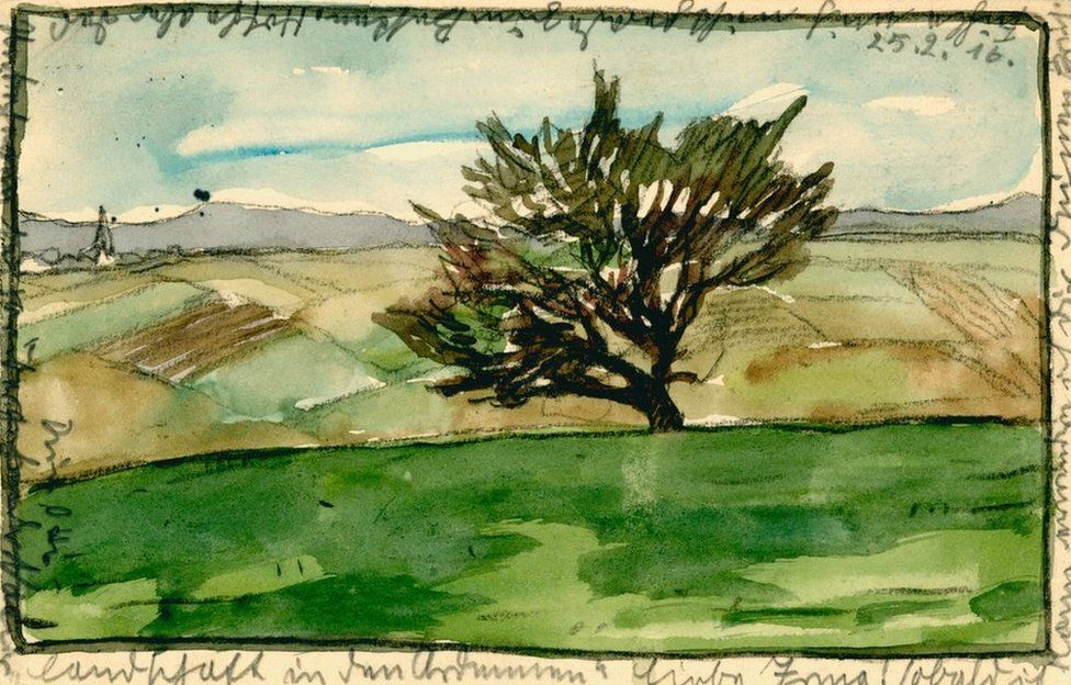 Painted postcard of a tree in a rural landscape