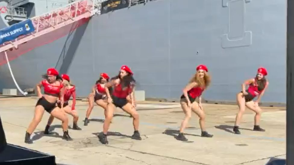 The dance troupe performing at the Royal Australian Navy ship ceremony on Saturday