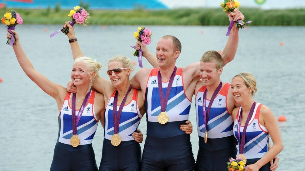 David Smith and his team-mates celebrating their gold medal win