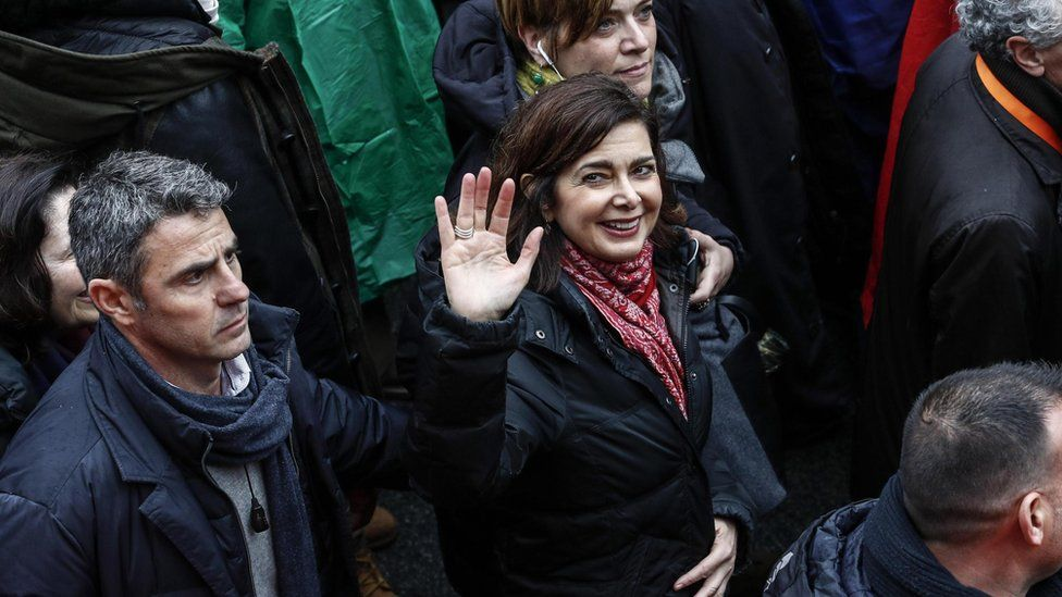 Italian lower house speaker Laura Boldrini attending an anti-racism rally in February 2018