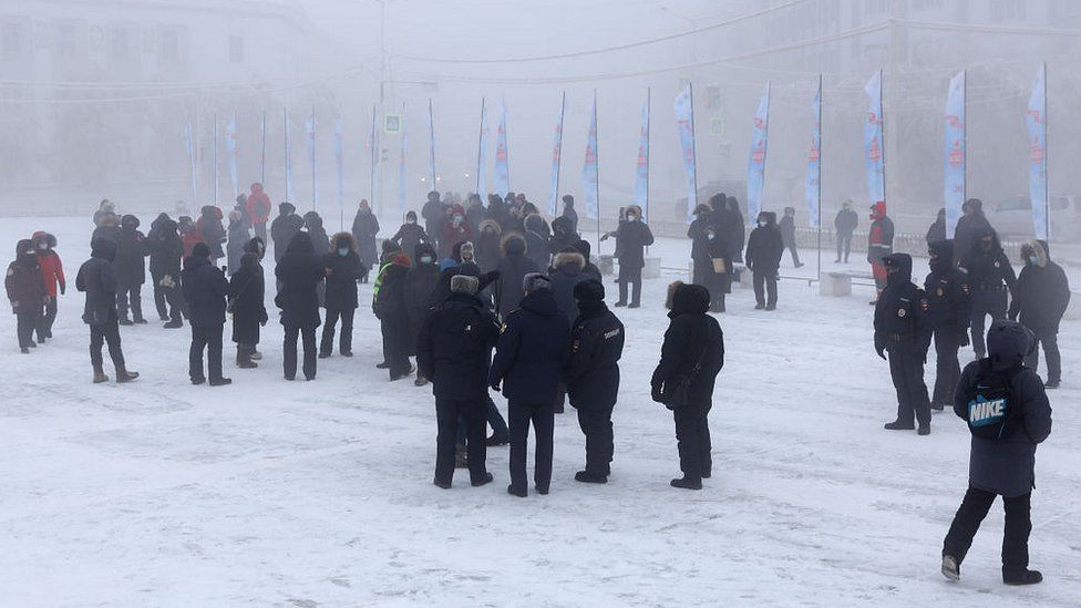 Protesters gather in Ordzhonikidze Square in the city of Yakutsk. 31 Jan 2021