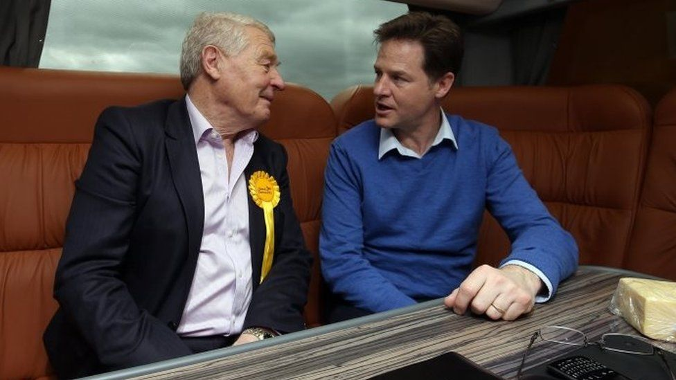 Paddy Ashdown with Nick Clegg on the election trail in 2015