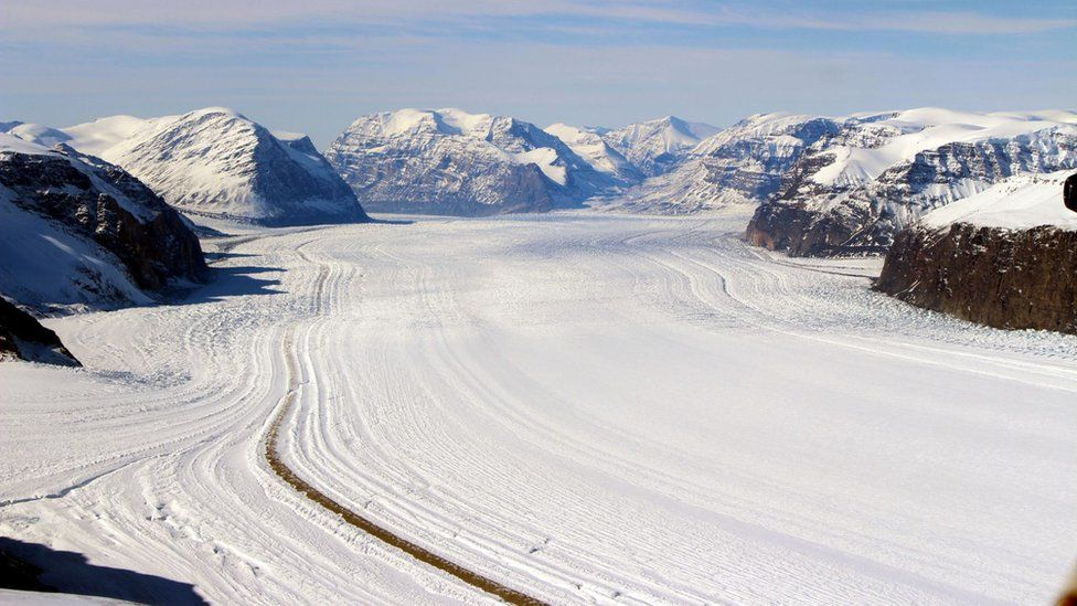 Umiamako Glacier enters the ocean in the west of Greenland
