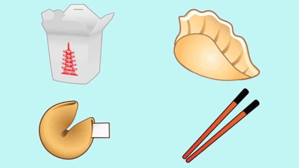 Takeout box, fortune cookie, dumpling ,chopstick emoji designs