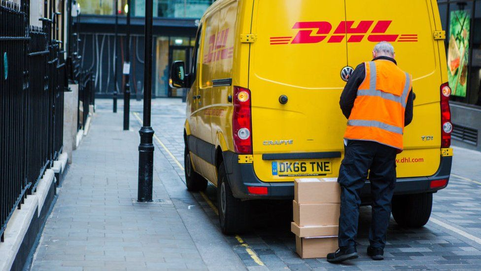 DHL delivery driver and van in London