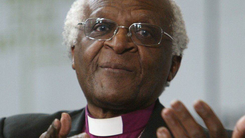 The Most Reverend Desmond Tutu, Anglican Archbishop Emeritus of Cape Town, speaks at a press conference in New York City, 1 May 2004