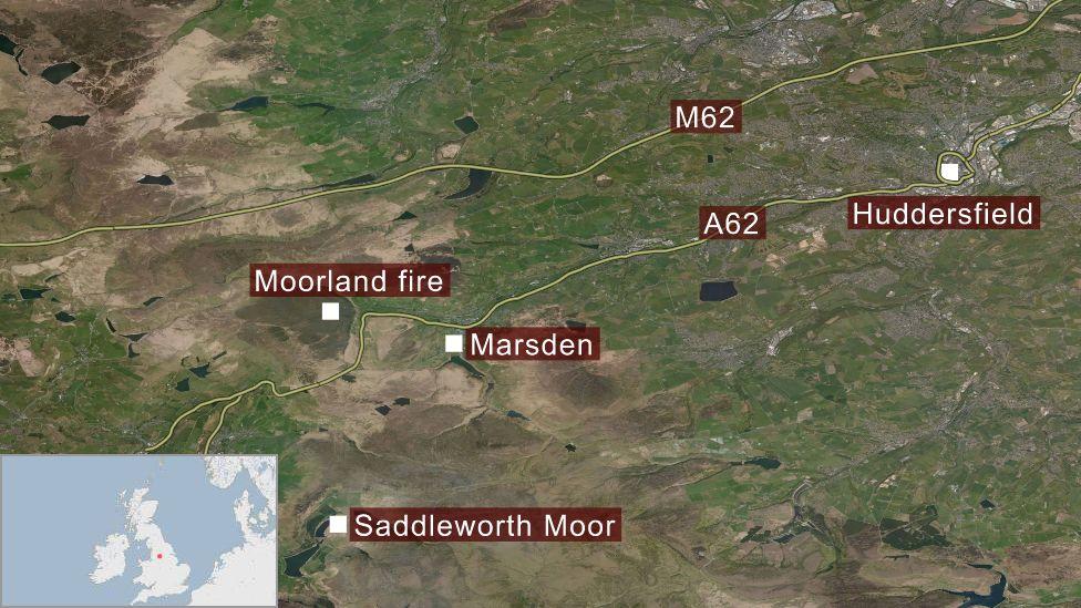 Map of area around Marsden