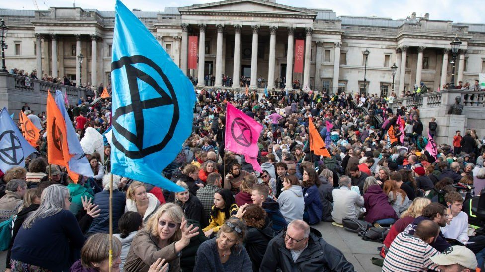 Extinction Rebellion take over Trafalgar Square in protest where they gathered for speeches and to form discussion groups on 16th October 2019 in London