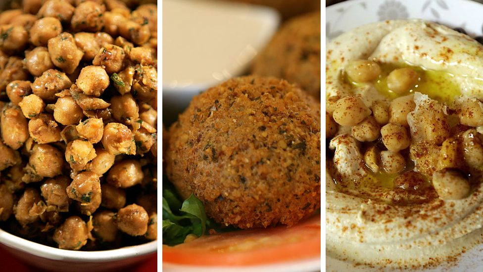 Chickpea curry, falafel and hummus