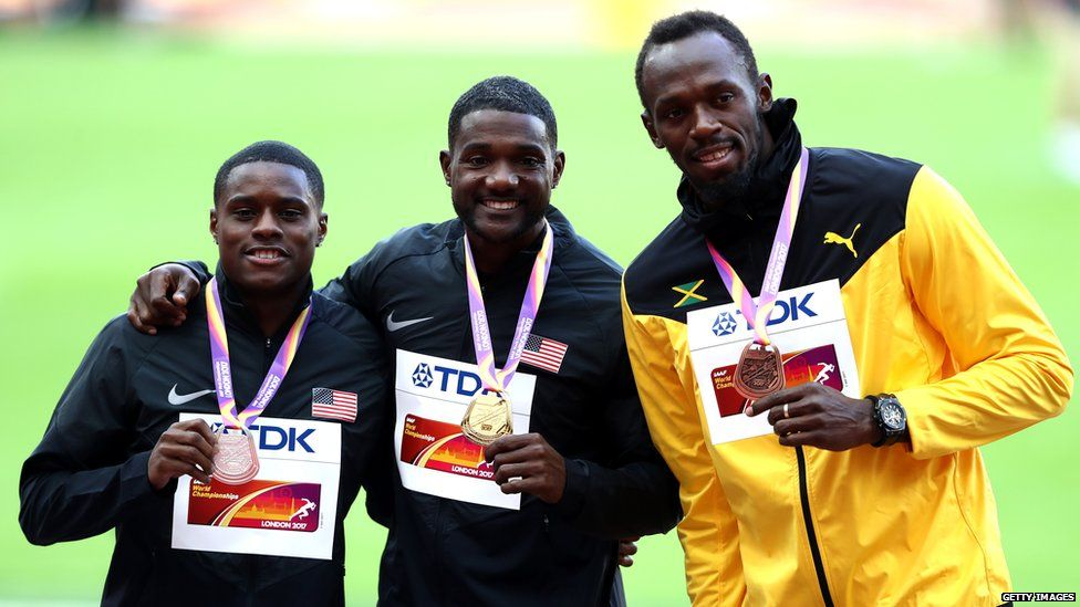 This is a photo of Christian Coleman, Justin Gatlin and Usain Bolt during their medal ceremony.