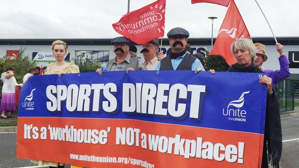 Protest outside Sports Direct AGM in Derbyshire