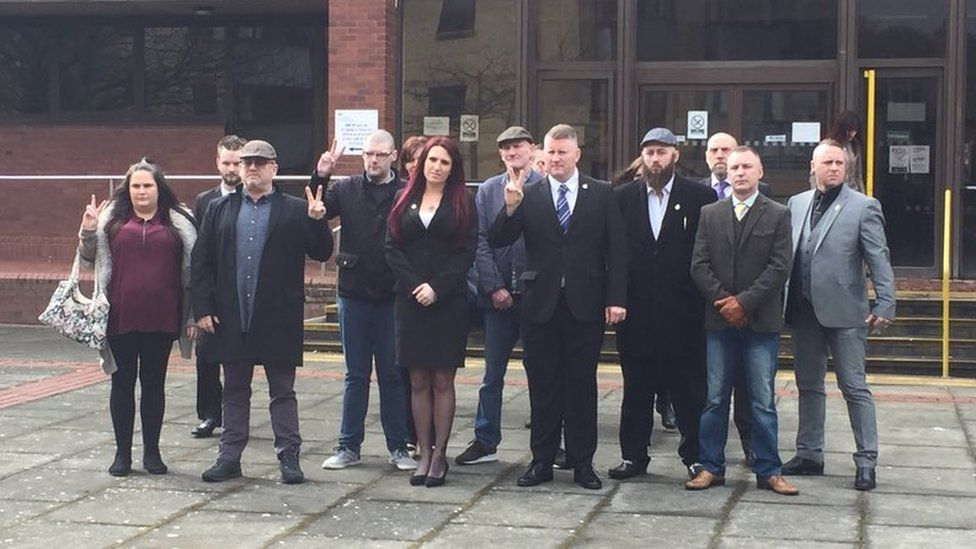 Paul Golding and Jayda Fransen with Britain First supporters at the court - 7/3/18