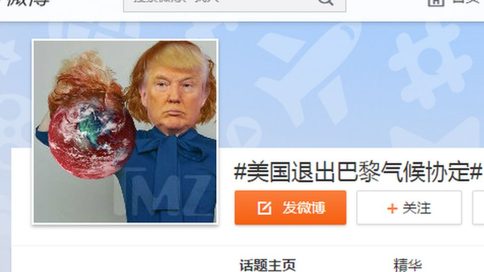 Thousands of Weibo users have been commenting on Trump's exit from the Paris agreement