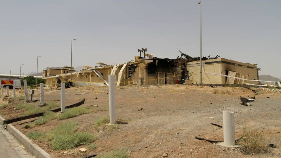"""A view of a damage building after a fire broke out at Iran""""s Natanz Nuclear Facility"""