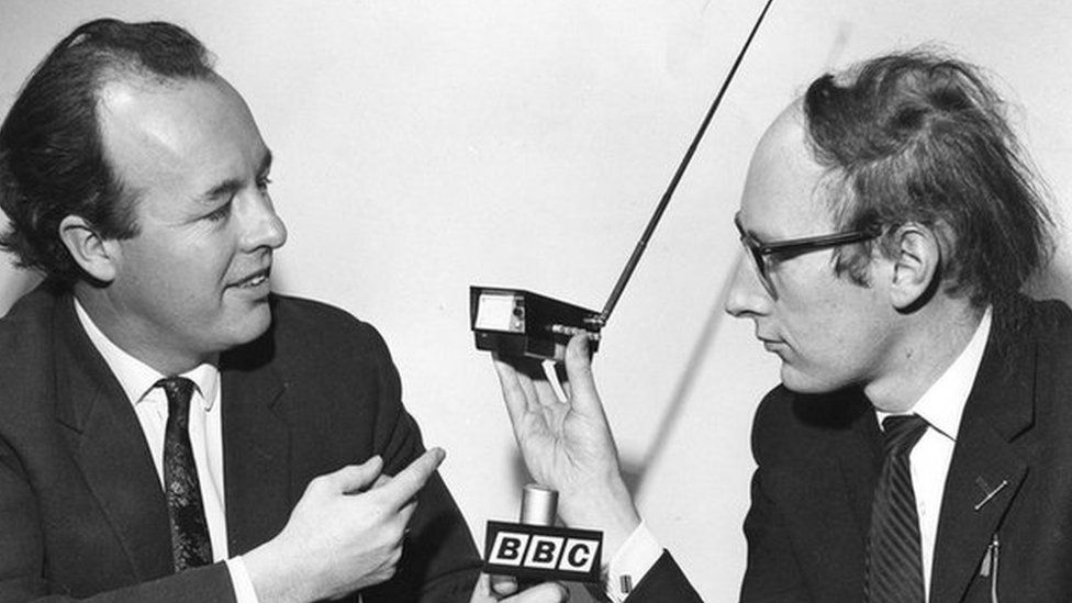 Sinclair demonstrating a miniature TV for the BBC