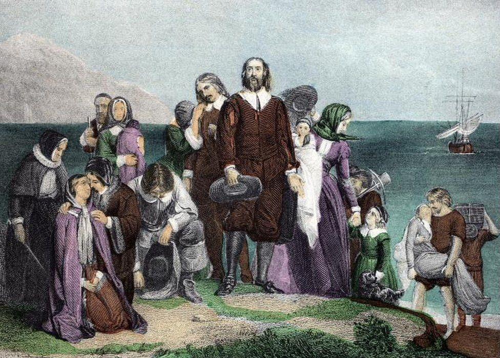 Pilgrims land at Cape Cod, 1620