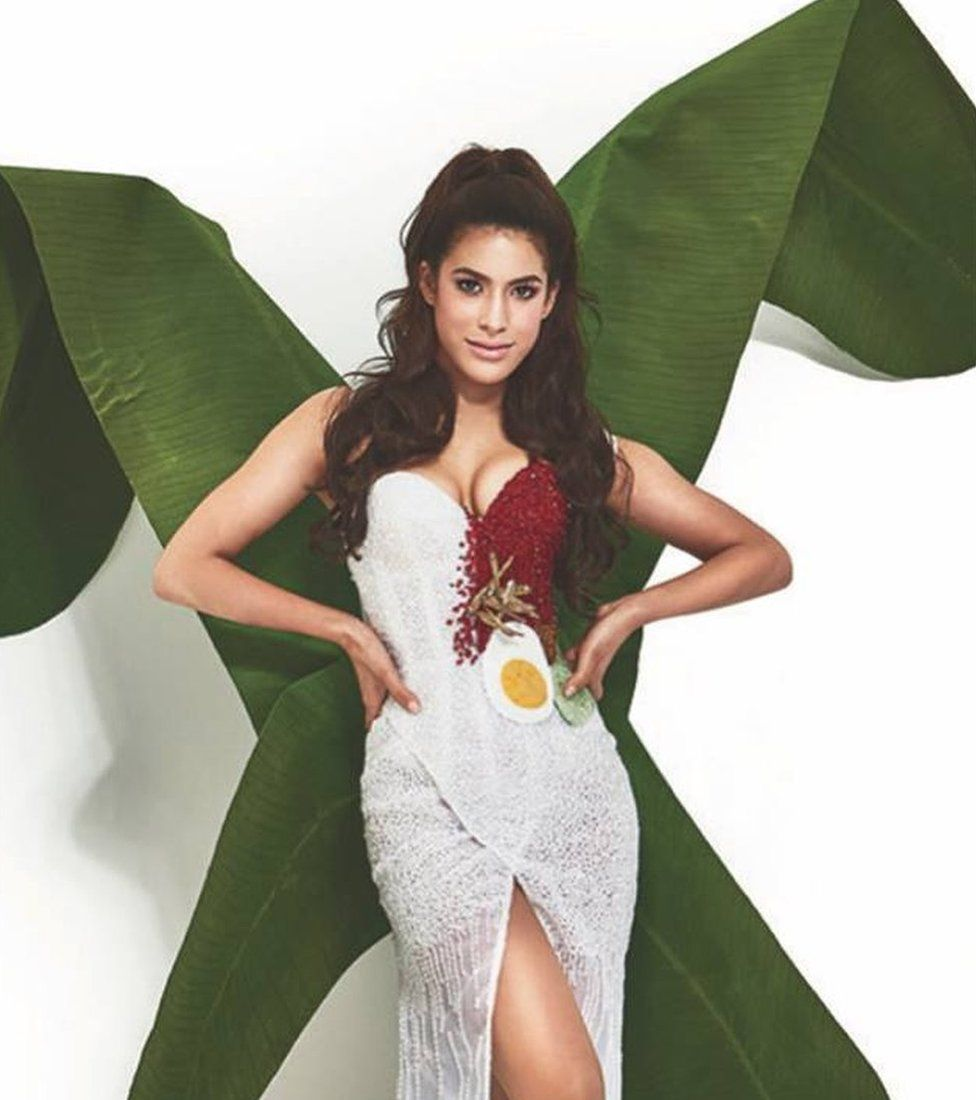 Picture of Miss Universe Malaysia's nasi lemak dress