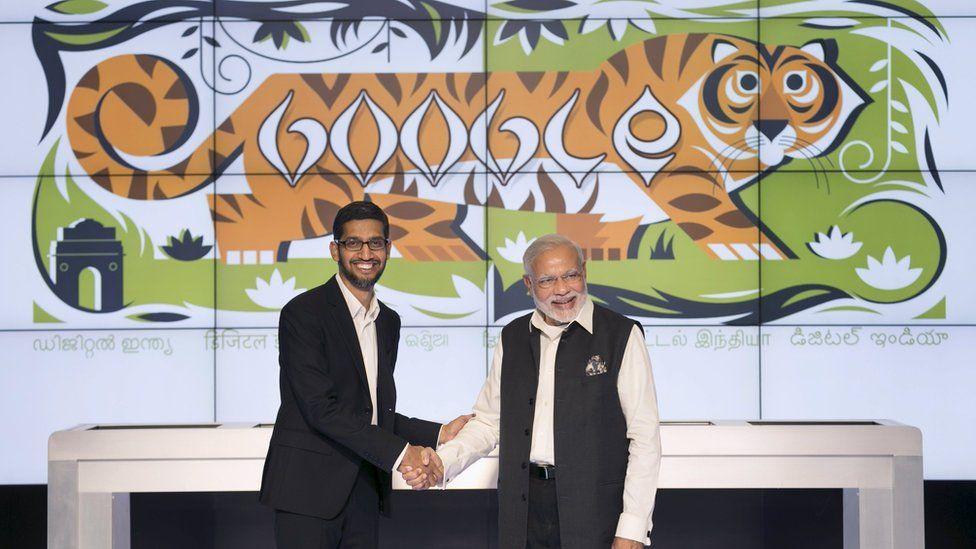 Narendra Modi and Google CEO Sundar Pinchai