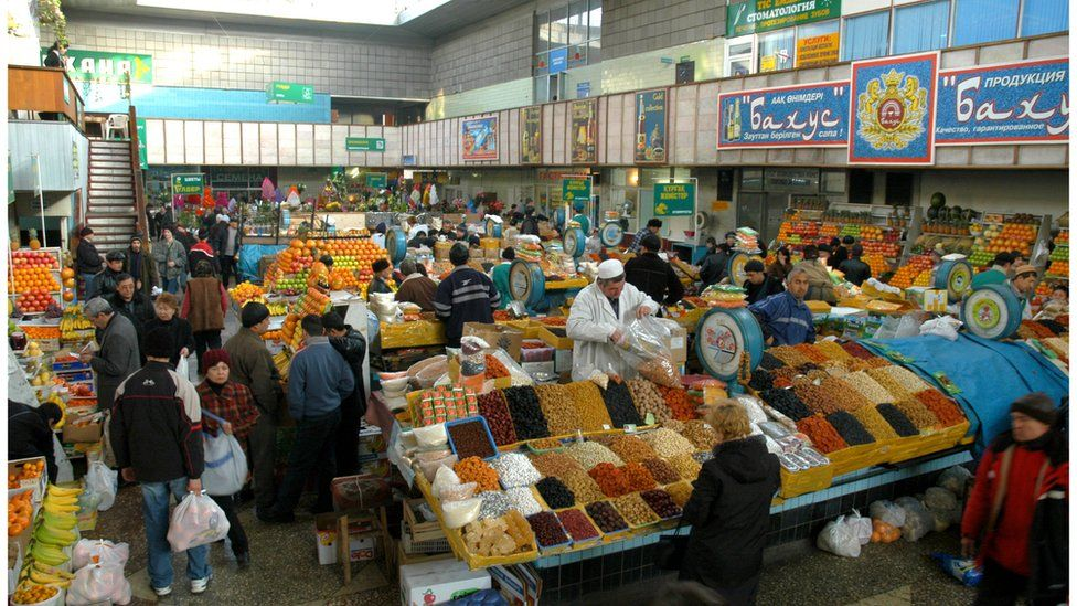The main city market, the Green Bazaar, in Almaty, Kazakhstan, 2005