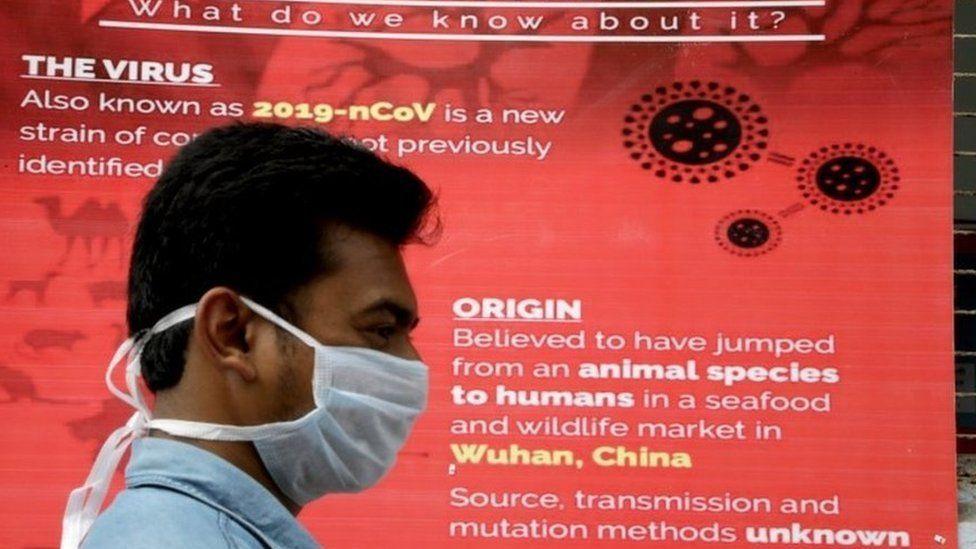 Coronavirus advisory hangs at the entrance of the Infectious Diseases (ID) Hospital in Kolkata, India, 04 March 2020