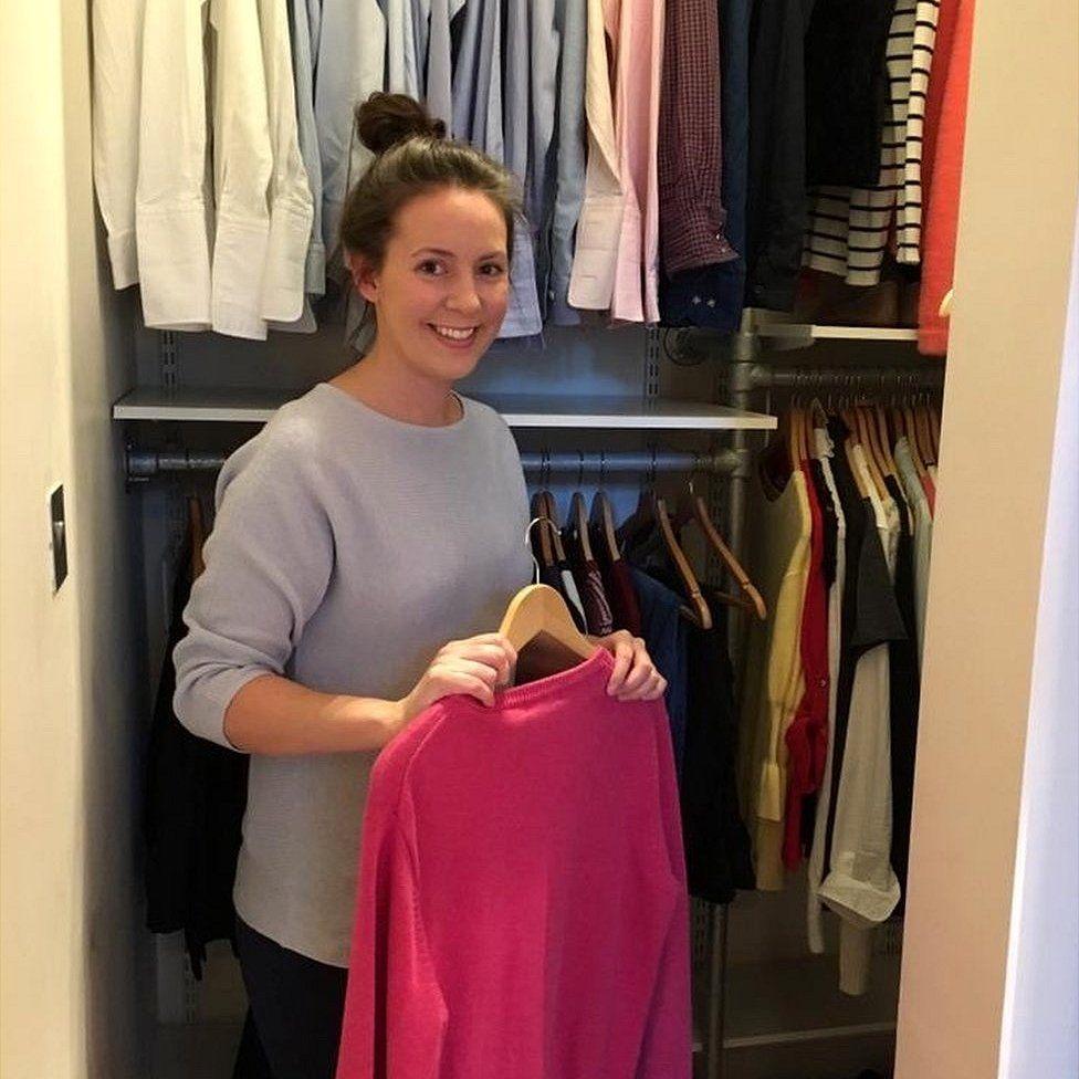 Lizzie Grant in a cupboard
