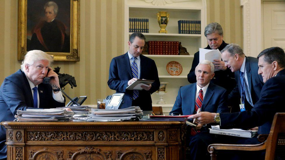 President Donald Trump held a meeting with Reince Priebus, Mike Pence, Steve Bannon, Sean SPicer and Michael Flynn