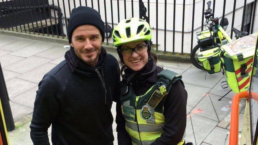 David Beckham poses with Catherine Maynard