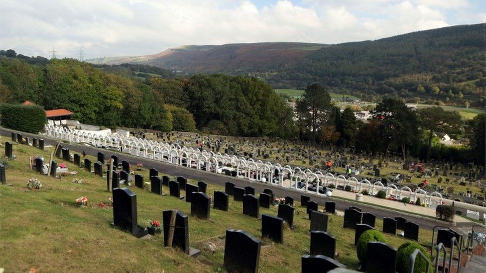 """The graves of the victims of the Aberfan disaster in the village""""s cemetery"""