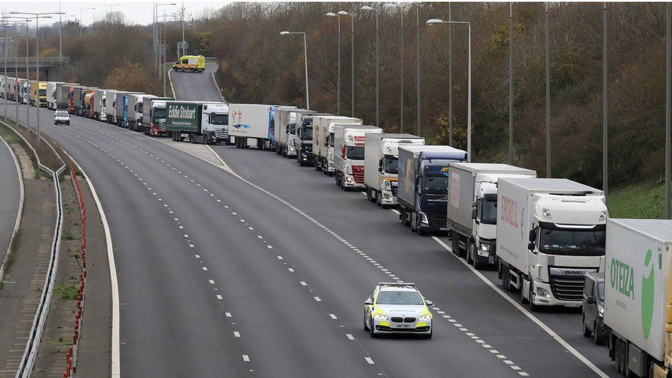 Lorries queuing on the M20 in Kent to use the Channel Tunnel in November