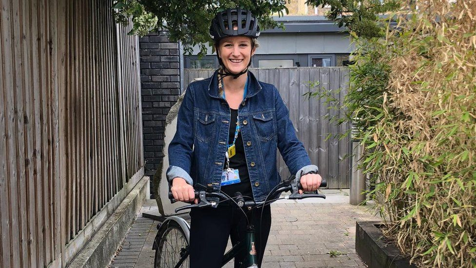 Lizzie Farrant, who works as a midwife in London, has started cycling to work