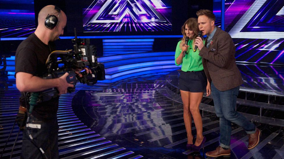 Caroline Flack and Olly Murs filming The Xtra Factor
