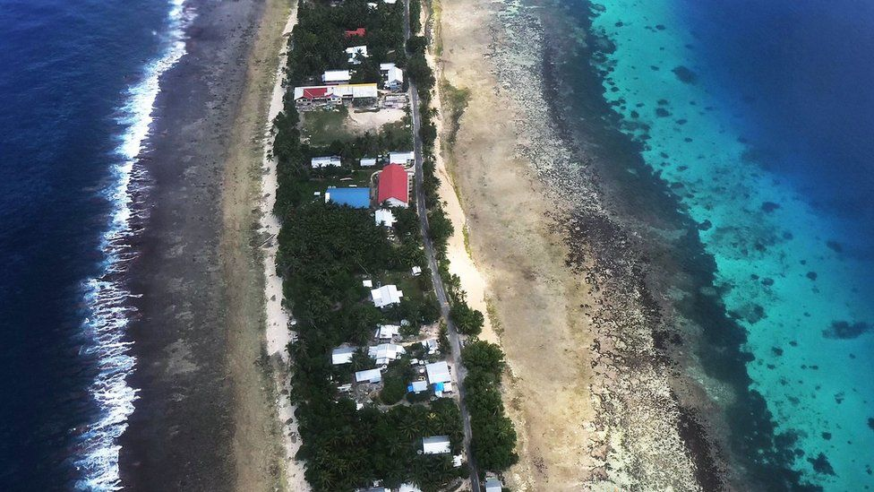 An aerial image of Funafuti, Tuvalu, on 15 August 2018