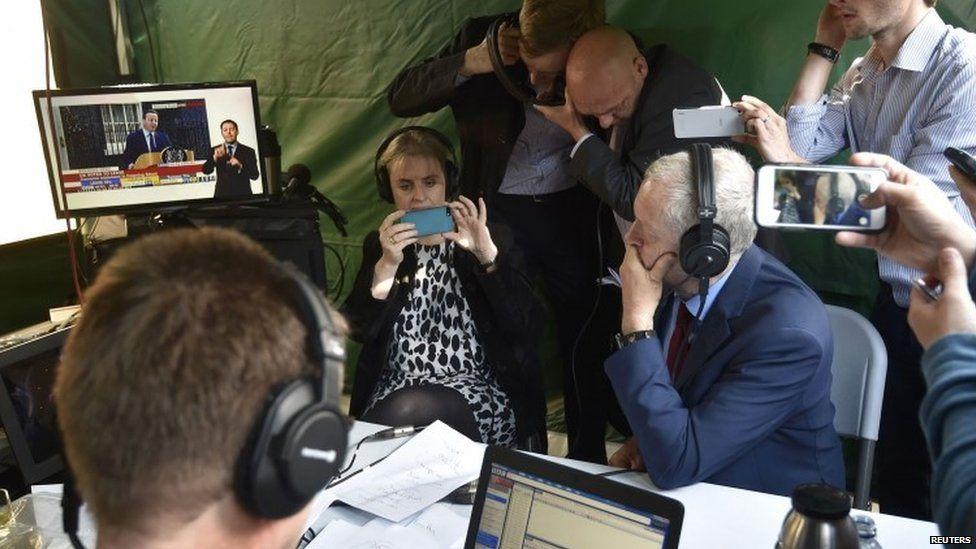 Jeremy Corbyn listening to David Cameron's resignation speech
