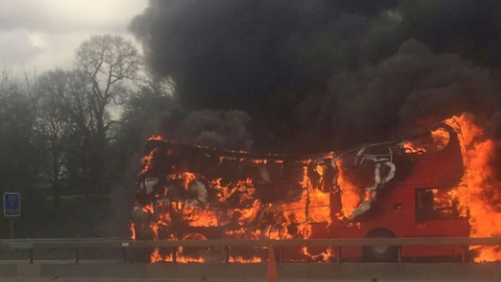 Bus fire on the M6