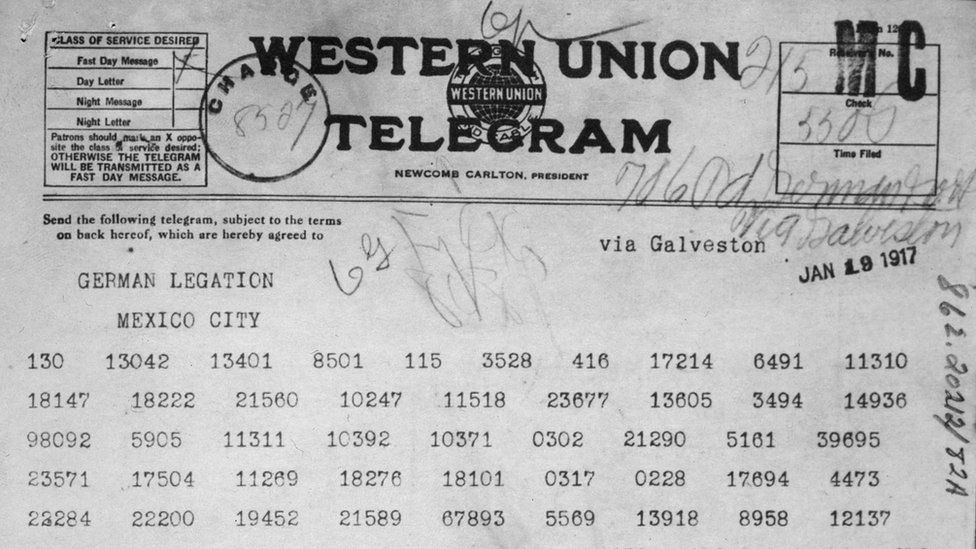 Zimmermann Telegram as received by the German ambassador to Mexico
