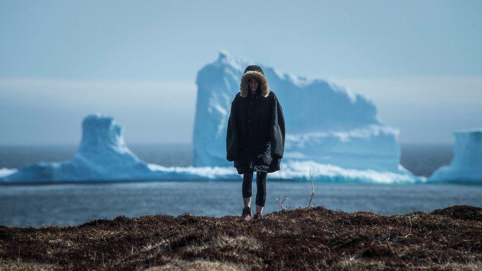 Pessoa tira foto com iceberg na costa de Ferryland
