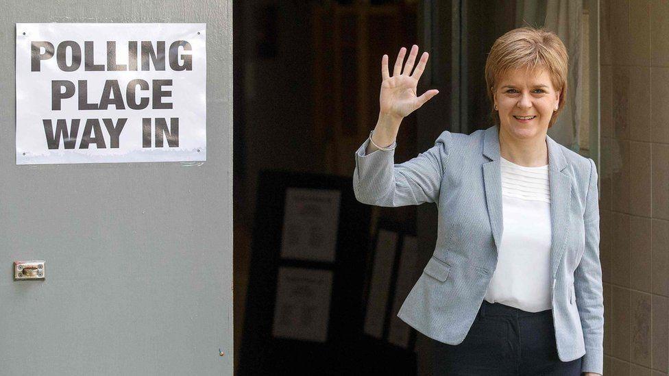 Nicola Sturgeon voted in Glasgow on Thursday morning