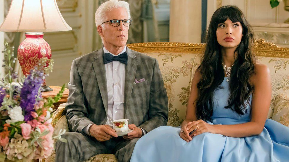 Ted Danson and Jameela Jamil in The Good Place