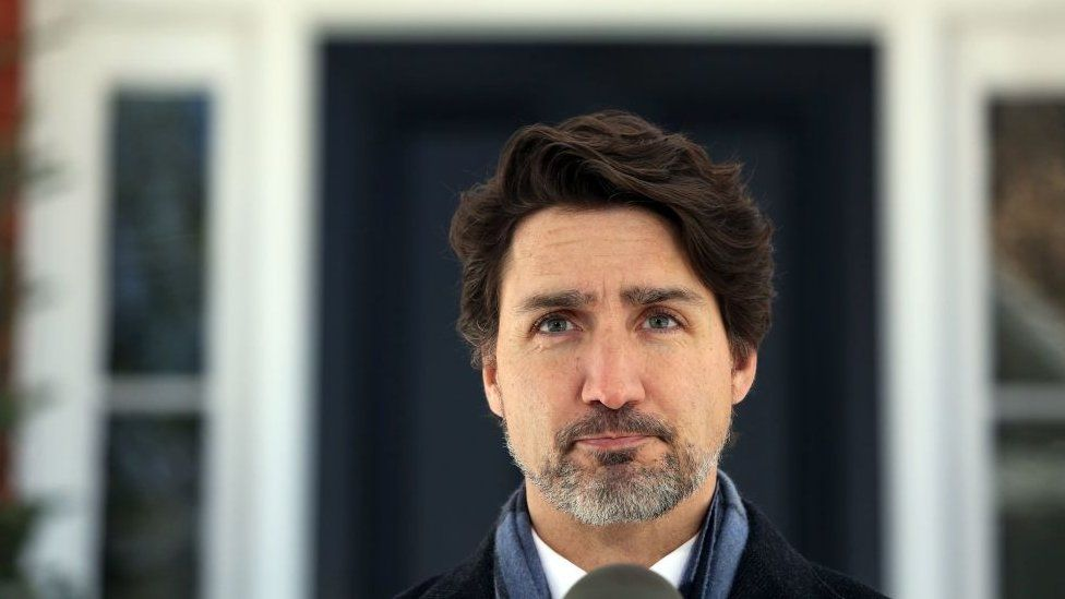 Prime Minister Justin Trudeau at an outdoor news conference in April 2020