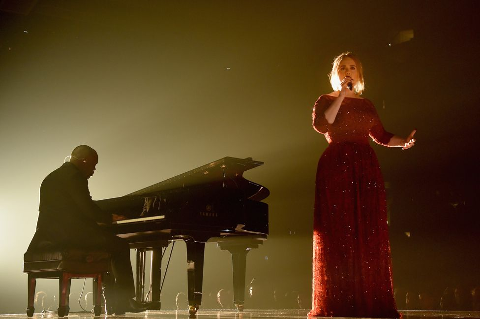 Adele performing at the 2016 Grammy awards